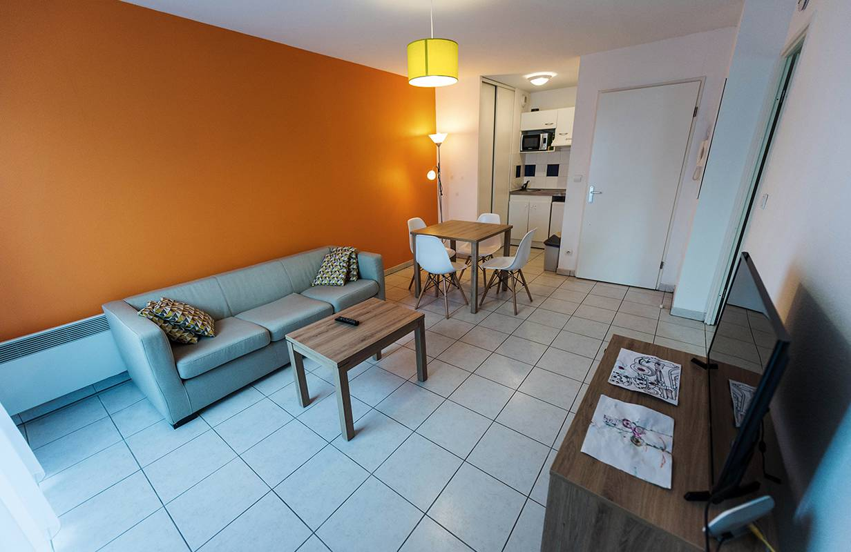 pièce à vivre appartement location moyen séjour à Toulouse